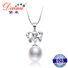 $enCountryForm.capitalKeyWord NZ - DAIMI Simple Nice Bowknot Necklace 8.5-9mm Natural White Pearl Pendant Necklace 925 Silver Pendant 2017 Y1892806