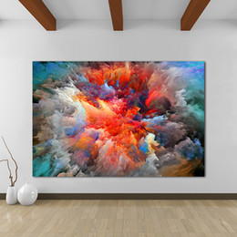 Clouds art modern painting online shopping - Colorful Clouds Handpainted HD Modern Abstract Graffiti Art oil painting Home Wall Decor High Quality Canvas Multi Sizes l17