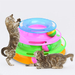 crazy funny toys NZ - Funny Pet Toys Cat Crazy Ball Disk Interactive Amusement Plate Play Disc Trilaminar Turntable Cat Toy