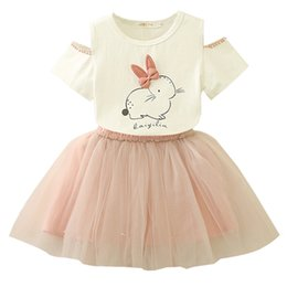 tops wear suit skirt UK - Summer Sets Children's Wear INS summer children's wear girls rabbit top + gray skirt suit V 002