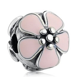 $enCountryForm.capitalKeyWord Australia - New Pink Enamel Daisy Flower Clip Beads Fit Charms Authentic 925 Sterling Silver Original Bracelets Women DIY Charm Beads for Jewelry Making