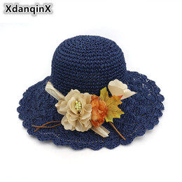 XdanqinX Summer Women s Hat Handmade Flower Decorated Straw Hat Foldable  Small Fresh Sun Hats Fashion Brand Lady s Beach c4a2d369d653