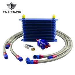 Wholesale PQY - Universal Oil Cooler Kit 15 Row 10AN Aluminium Engine Transmission Oil Cooler Relocation Kit PQY-5115B+6724BR+KIT3S