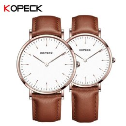 quartz gold heart watch 2019 - KOPECK Rose Gold Pair Hearts Watch Men Women Luxury Couple Wristwatch Leather Band Lover's Quartz Watches Simple Wa