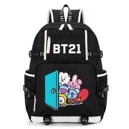 Travel fan online shopping - KPOP BTS Backpack Bangtan Boys Bookbag Shoulder Bag Mang Cooky Jimin J hope Travelling Bag New Design Fans Collection Z7121510