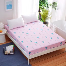 Cartoon Green Cactus Pattern 1Pc Fitted Sheet Environmental Printing Bed  Sheet With Elastic Band Mattress Cover With Rubber Band