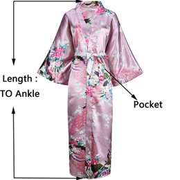 Plus Size Long Robes With Pocket Women Satin Print Peacock Robe Casual  Female Sleepwear Nightdress Home Gown Kimono Bath Gowns a2a9e1a7d