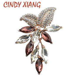 crystal grape wholesale NZ - CINDY XIANG Big Crystal Flower Large Brooch Grape Pins and Brooches Wedding Jewelry Bijouterie Corsage Dress Coat Accessories