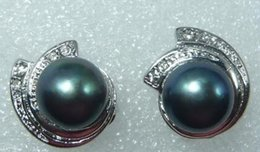 kultivierte 8-9mm schwarze Perle Ohrstecker