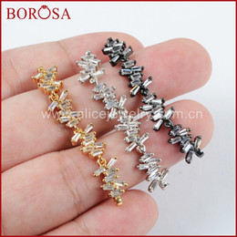 Micro Pave Connectors Australia - BOROSA 10PCS Fashion Mix Colors CZ Clear Micro Pave Crystal Double Charm Connectors for Bracelet for Women Jewelry Making WX843