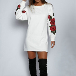 a19355a4ab1b loose arm sleeve 2019 - Women Autumn Sweat dress Arm Rose Embroidery Long  Length Sweatshirt Fashion