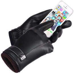 $enCountryForm.capitalKeyWord Australia - Leather Gloves Men's Winter Gloves Touch Screen Windproof Keep Warm Driving Guantes Male Autumn and Winter Leather Gloves Black S1025