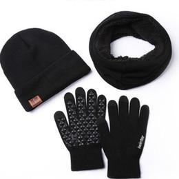 chapeau d automne et d hiver, gants écharpe tricoté costume trois pièces en e4d53097d35