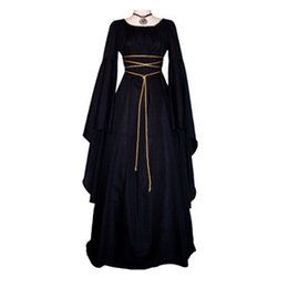 Chinese  Medieval Women's Solid Vintage Victorian Gothic Dress Renaissance Maiden Dresses Retro Long Gown Cosplay Costume For Halloween manufacturers