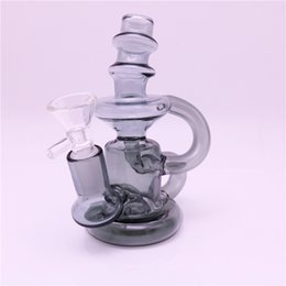 Double Perc Water Bong UK - Glass Recycler Bong Dab Oil Rigs Double cyclone inline arm heady bongs gear perc water pipes rig with male 14mm glass bowl