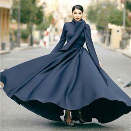Closed neCk evening dresses online shopping - Muslim Long Sleeves Prom Dresses Fashion High Neck Zipper Closed Back Party Dress Elegant Floor Length Satin Evening Dress Formal Wears