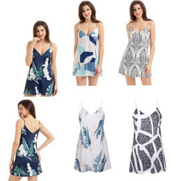 Women S Beach Clothes NZ - Summer Bohemian Dresses Spaghetti Strap Women Clothes Floral Print 5 Design Patterns New 2018 V Neck Above Knee Beach Mini Dress