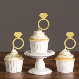 Bachelorette Party Cupcake Toppers Australia - Gold Silver Black Glitter Diamond Ring Cupcake Toppers Bridal Shower Bachelorette Party Favors Decoration Cake Decorations Picks