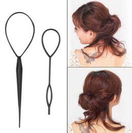 Discount hair braiding styling - Ponytail Creator Plastic Loop Styling Tools Black Topsy Pony Topsy Tail Clip Hair Braid Maker Styling Tool Fashion Salon