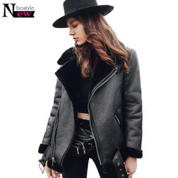 a272894c1 2018 Winter Thicken Faux Fur Coat Leather Fluffy Fur Jacket Women  Motorcycle Faux Shearling Sheepskin Coat Women Leather Jacket