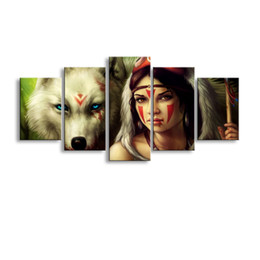 Art Canvas Prints Australia - 5 pieces high-definition print Princess mononoke wolf canvas oil painting poster and wall art living room picture B-051