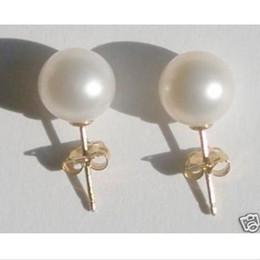 741b61b54d70 Nuevo 8.6 MM AAA + White South Pearl Pearl pendientes 14k oro