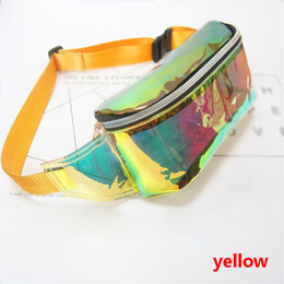 Wholesale Women PVC Jelly color Clear Fanny Waist bag chest pack sparkle festival hologram Beach bag inch
