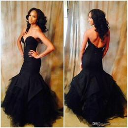 27be179d0 Vestido de fiesta de noche de sirena negro con largo vestido sin mangas  escote con cuentas de tul vestidos formales