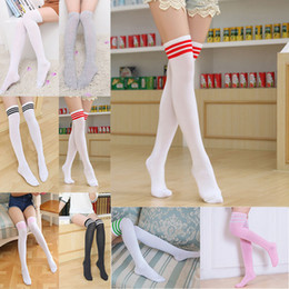 Discount knee high stocking striped - Girl Long Tube Socks Women Sexy Cotton Stripes Knees High Socks Festive Party Supplies Christmas socks Free Shipping WX9