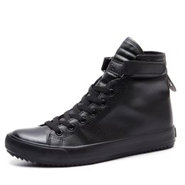 2fddf6716358 Fashion Black And White High Top Sneakers Men Ankle Boots Comfortable Lace  Up Mens Leather Shoes Casual Hip Hop Shoes for Men Trainers