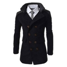 mens long double breasted overcoat Canada - New Korean Men Coat Pea Coat Mens Double Breasted Jacket Men's Woolen Long Overcoat Mens Wool Blend Lapel Collar Trench Overcoat