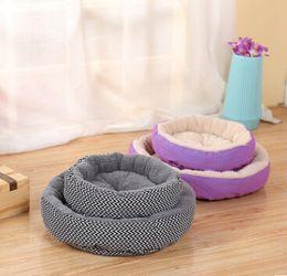 $enCountryForm.capitalKeyWord Australia - Round Dog Cat House Soft Pet Puppy Kennel Striped Dog Cushion Basket Winter Warm Dog Sleeping Bed