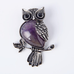 China New Vintage Natural Stone Cute Owl Animal Pendants for Necklaces Amethysts Purple Quartz Bead Charm Women Reiki Jewellery gift cheap vintage amethyst stone necklace suppliers