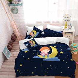 Discount blue moon beds - Kids Cartoon Bedding Set Dark Blue Starry Sky Duvet Cover Set Boy With Toy Bear sit on Moon Bed Cover Pillowcase Home De