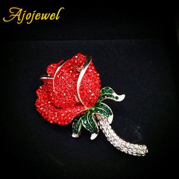 Ajojewel High Quality Full Rhinestone Rose Brooch Love Jewelry Women Romantic Birthday Gifts For Girlfriend