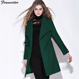 2509af32c0a4 High Street Winter Coat Women Woolen Long Sleeve Medium-Long Belt Coat Warm  Wool Blends Slim Dark green Female Overcoat Cashmere
