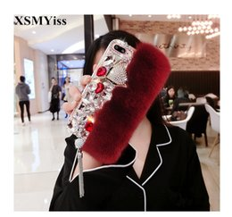 fox bling iphone case UK - Rabbit Fur Plush Phone Cases For Xiaomi MIX2 2S MAX 2 5 5S plus 5C 5X 6 6X plus Note3 8 8SE Luxury Fox Bling Diamond Soft Cover
