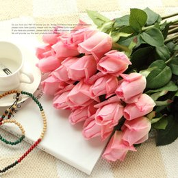 Discount fresh white rose flowers - Wholesale-(10 colors) Fresh PU Rose Artificial Flowers Real Touch rose Flowers Home decorations Wedding Party Birthday g