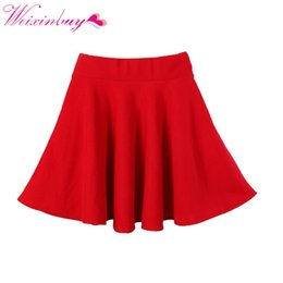 Orange circles online shopping - WEIXINBUY Spring New Women Candy Color Casual A line Flared Mini Circle Short Pleated Women Skirt