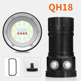 Portable underwater fishing lights online shopping - 6pcs QH18 W LM Underwater M LED Diving Flashlight Torch Professional Diving Photo Photography Video Fill Light