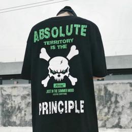 skull t shirts men 2019 - Streetwear T-shirt Cotton Mens Tops Harajuku Japanese Print Skull Hip Hop 2018 Europe Fashion Dry Fit Tee Plus Size disc