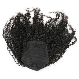 Chinese  3B 3C Kinky Curly Clip In Ponytail Human Hair Extensions Brazilian Hair Products Pony Tail Natural Color Remy 120g 4colors manufacturers