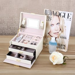 lockable boxes NZ - Fashion Medium Jewelry Box Accessories Jewelry Storage Makeup Case Faux Leather Lockable Classic Design With Mirror Women Gorgeous Box H192F