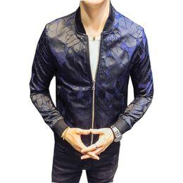 Royal Floral Jacket Patterns Blue Black 2018 Club Patty Baroque Bomber  Jackets Men Jacquard Club Outfit Men Slim Fit 4XL 7e453dcd1