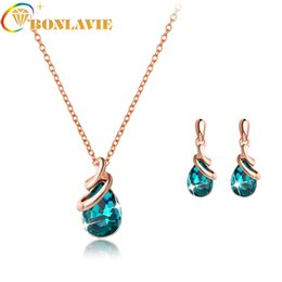 $enCountryForm.capitalKeyWord Canada - Fashion colorful Crystal Earring Necklace Set Women Wedding Gold Pendant Rhinestone Jewelry Suits 2018 Best Selling