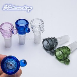 $enCountryForm.capitalKeyWord NZ - Glass Bowl with Handle Glass Herb Holder Colorful Bowl with 14mm 18mm Male Joint For Glass Bongs Water Pipes Free DHL 777