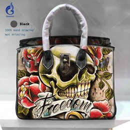 $enCountryForm.capitalKeyWord NZ - Fashion Designer Bags Ladies Luxury Bags 2018 Genuine leather Crossbody Shoulder Totes Art Hand Painting Skull Rose Ladies Handbags Yellow