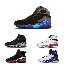 1afad851c6f660 2018 New 8 Chrome Aqua Black Purple Basketball Shoes Men 8s Playoffs Three  Peat 2013 Release Sneakers size 40-47