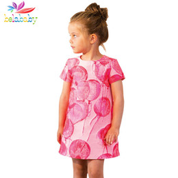 balloons children UK - Belababy Girls Dress 2017 Summer Cute Girls Dresses Cotton Pink Balloons Print Design Princess Dress Children Clothing