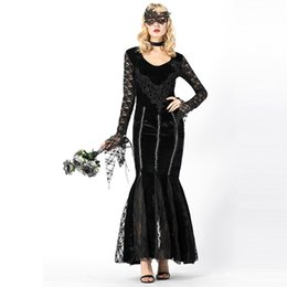 $enCountryForm.capitalKeyWord NZ - Halloween Carnival Holiday Party Witch Costume Black Sexy Lace Witch Costumes Long Dress Dresses for Women Adult W158853